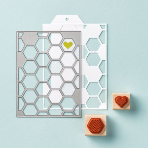 Bundle and save 15% with the Honeycomb Hello Stamp Set + Hexagon Hive Thinlits Die.