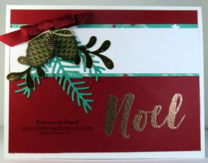 Handmade pine boughs christmas card