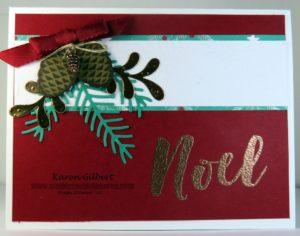 Handmade pine boughs christmas card