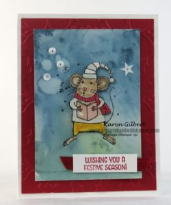 watercoloring a singing merry mouse